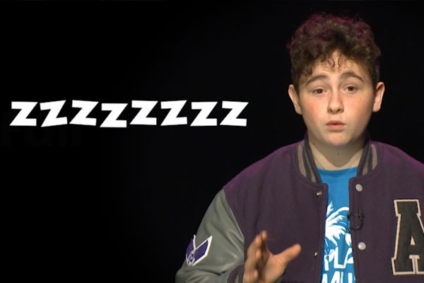 a teen on a black background with zzzzzzzs
