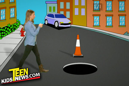 a girl walking toward a manhole with her cellphone on a cartoon background