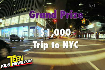 $1000 and a trip to NYC with a dark street background