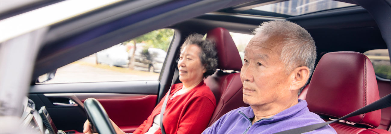 asian couple driving in a car