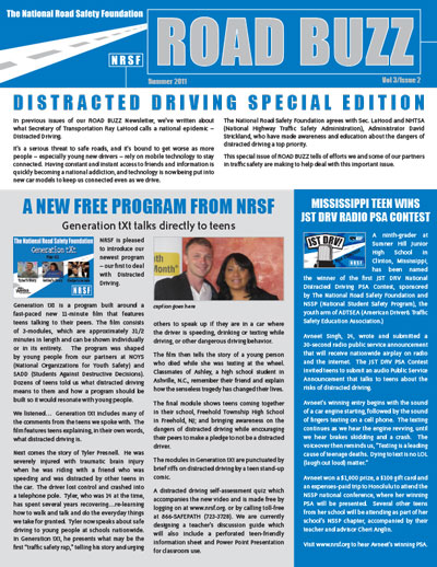 Road Buzz: Distracted Driving Special Edition, Summer 2011 cover