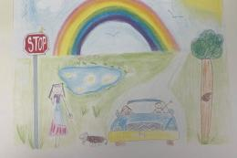 a drawing of a rainbow, trees, a car