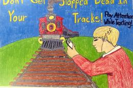 drawing of a boy not paying attention while crossing railroad tracks