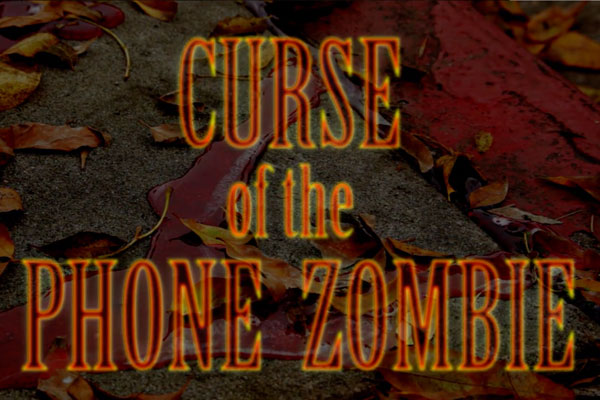 curse of the phone zombie on leaf background