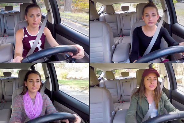 4 images of the same woman driving on different days