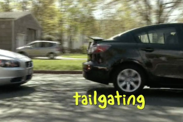 two cars too close to each other with the word tailgating