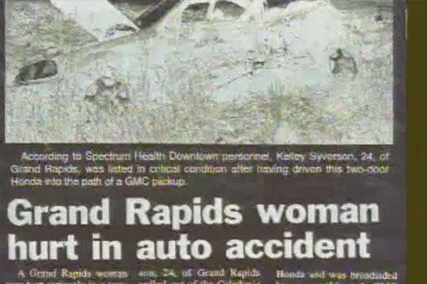 newspaper clipping of grand rapids woman hurt in an accident