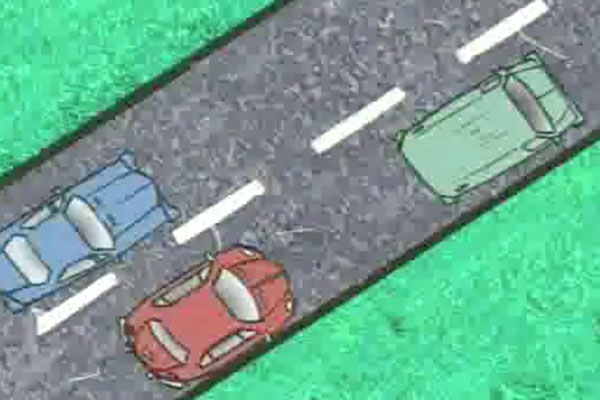 an illustration of a red car passing a blue car with a green car in front