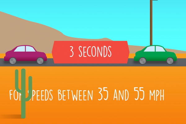 an illustration of the three second rule with 2 cars in a desert landscape