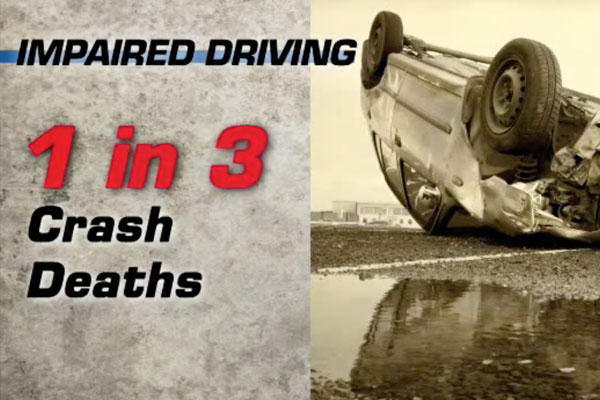 a car turned over and a graphic with 1 in 3 crash deaths