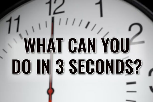 a clock with text in front that reads what can you do in 3 seconds
